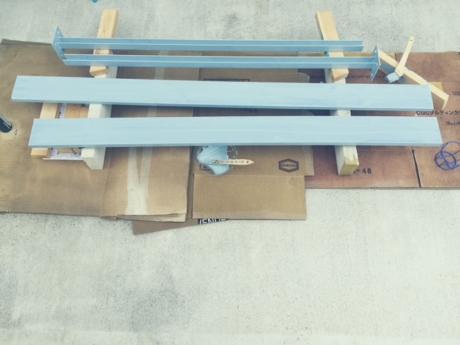 DIY 飾り ウッドフェンス 板壁 板塀 塗装作業 ブルー 2度塗り