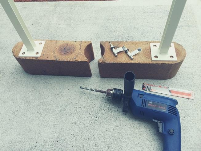 DIY 飾り ウッドフェンス 板壁 板塀 土台 基礎 レンガ アンカーボルト