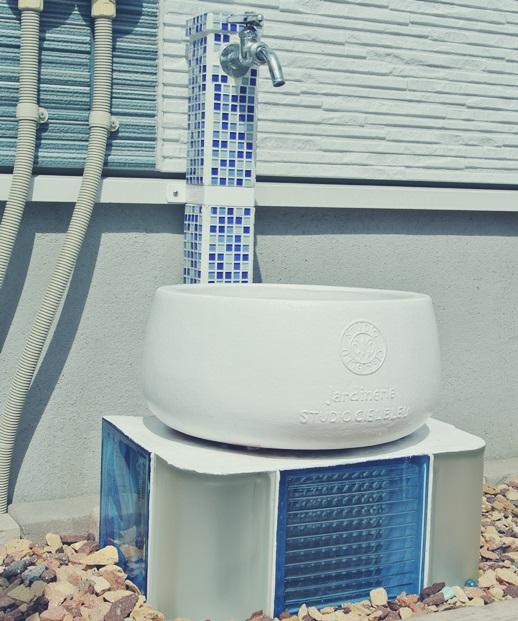 立水栓 DIY ガラス モザイク タイル