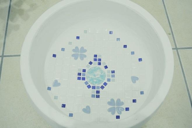 立水栓 水栓パン DIY ガラス モザイク タイル