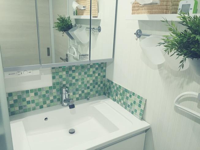 洗面化粧台 Decore(デコレ) DIYタイル モザイクタイル DIY 仮設置