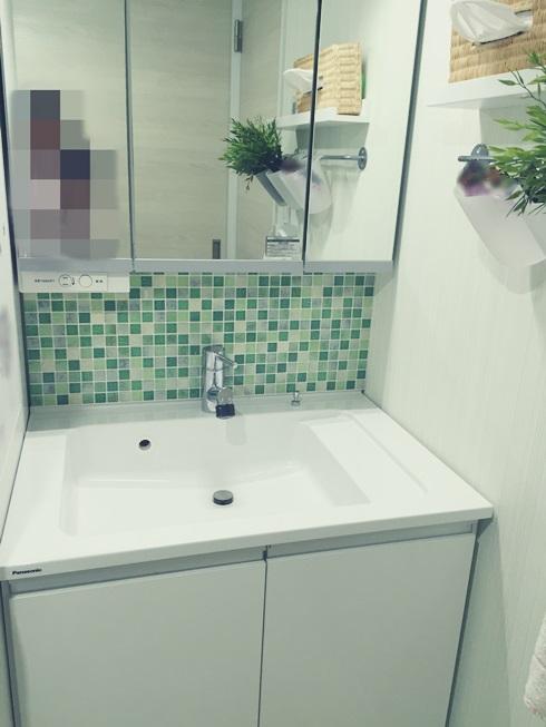 洗面化粧台 Decore(デコレ) DIYタイル モザイクタイル DIY 完成全体