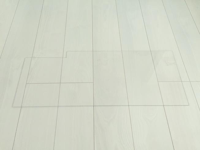 洗面化粧台 樹脂(プラスチック)板貼付 モザイクタイル DIY 準備