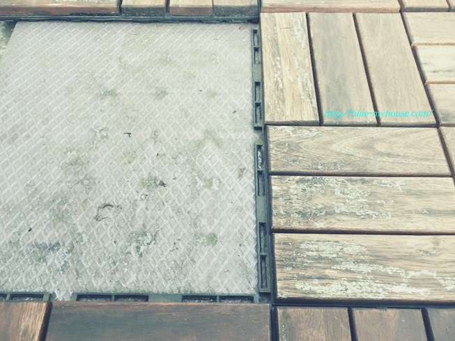IKEA イケア RUNNEN PLATTA フロアデッキ ウッド デッキ パネル タイル フロア ベランダ ジョイント 屋外用 劣化 経年 変化 補修 きのこ キノコ 茸 劣化の様子 汚れ