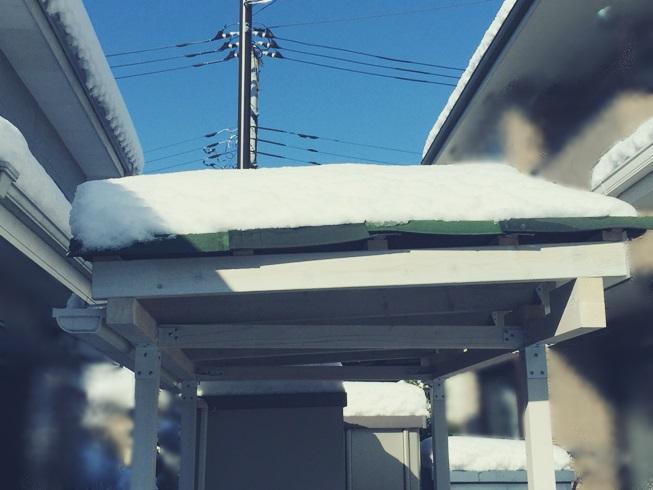 2018年 1月 22日 東京 関東 大雪 積雪 強風 カーポート サイクルポート テラス 屋根 サンルーム ストックヤード DIY 倒壊 破損 補強 耐 駐車場 駐輪場 小屋 量