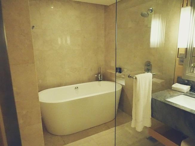 シンガポール マリーナベイサンズ バスルーム 浴室 風呂 ガラス 張り 客室