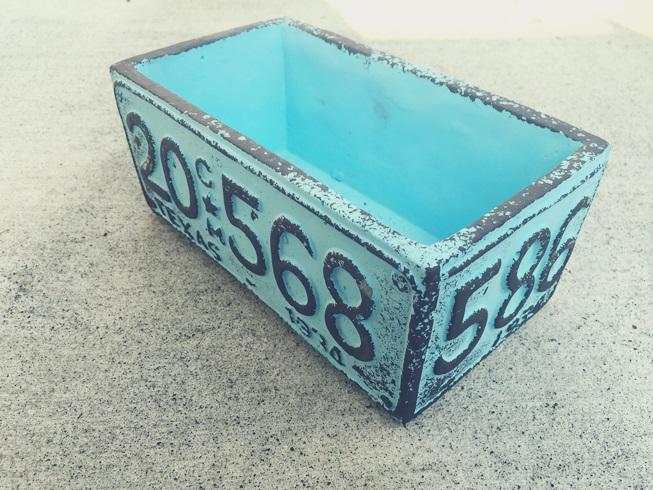 青 英字 植木鉢 プランター blue English planter