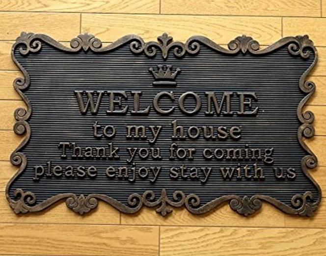 玄関 ドア マット 屋外 ラバー ゴム welcome ウェルカム おしゃれ