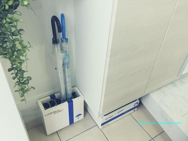 DIY 傘 立て アンブレラ スタンド おもちゃ 箱 収納 外遊び 玄関 完成 写真 アフター 設置