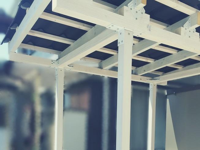 DIY カーポート サイクルポート テラス 屋根 サンルーム ストックヤード 補強 駐車場 駐輪場 小屋 構造 柱 梁 シンプソン金具 2×4